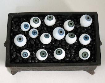 Vintage Blown Glass Doll Eyeballs - Christmas Ornament - Halloween Decor - One Pair Large Blue Eyes