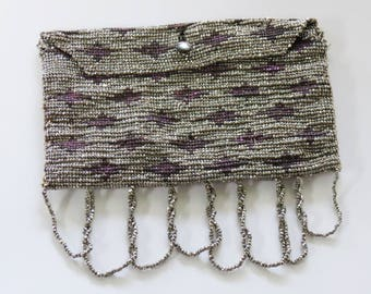 1920s Steel Cut Bead Coin/Calling Card Pouch - Ultraviolet Geometric Pattern - French Art Deco
