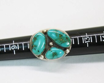 Massive Old Pawn Turquoise Sterling Ring Size 11 - 50 Grams - Cerrillos Mine -
