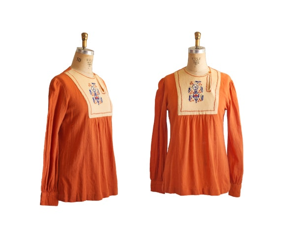 Vintage 60's/70's Boho Indian Tunic w/Bird Embroid