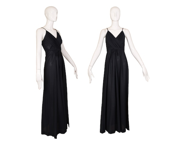 Vintage 1970's Themes Black Polyester Maxi Dress - image 1