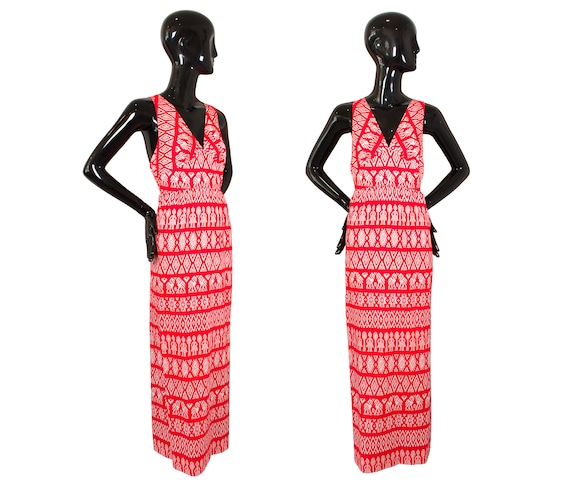 Vintage 70's/80's Junior Loungees Red/White Ikat B