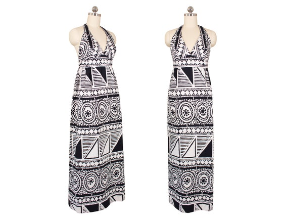 Vintage 1980's Malia Honolulu B/W Halter Dress w/G