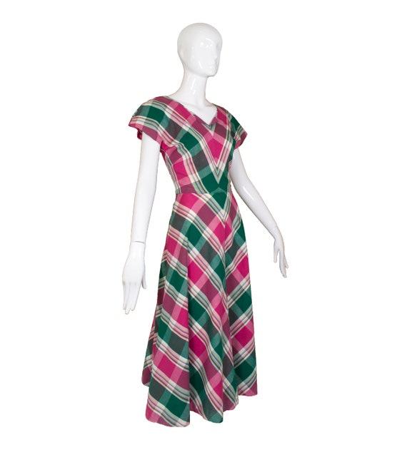 Vintage 1940's Handmade Plaid Dress - image 3