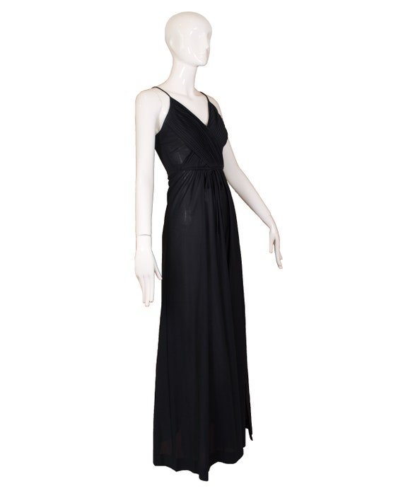 Vintage 1970's Themes Black Polyester Maxi Dress - image 3