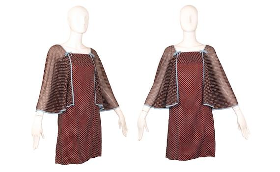 Vintage 1970's Corky Craig Brown Mini Dress w/Ange