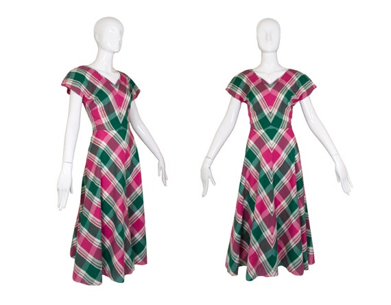 Vintage 1940's Handmade Plaid Dress