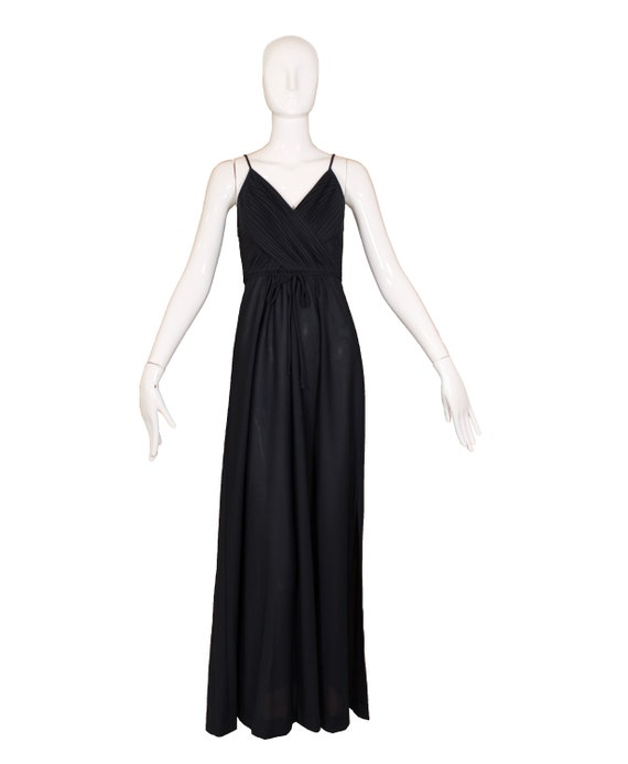 Vintage 1970's Themes Black Polyester Maxi Dress - image 2