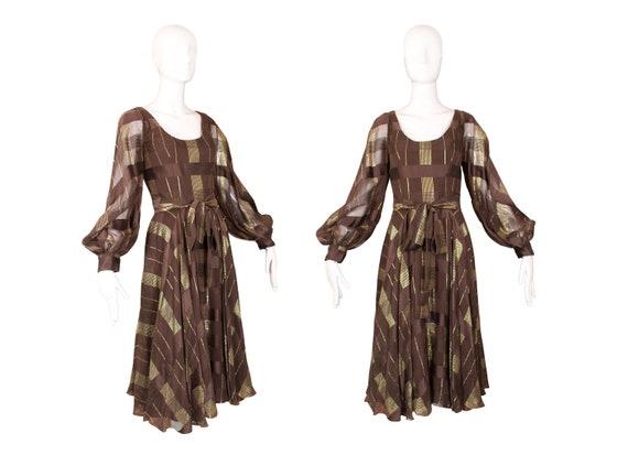 Vintage 1970's Ruben Panis L/S Brown Dress w/Gold