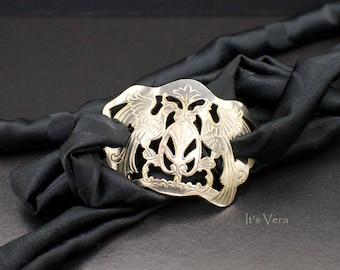 Bracelet, silk wrap, silver bracelet, elegant chic, Boho bracelet, friendship bracelet, modern art jewelry, gypsy fashion, yoga bracelet