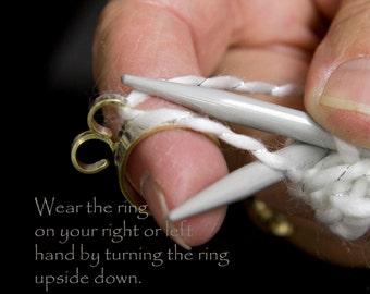The original knitting ring, wide band knitting ring, stranding ring, knitting tools, crochet, crochet ring, crochet tools, arthritis