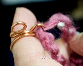 Copper crochet tool, copper rings, arthritis ring, crochet gifts, crochet ring, knitting gifts, knitting rings, gifts for Mom, crafters