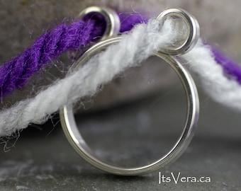 Knitting rings,  2 loop original design by Vera ring, yarn guide rings, knitting accessories, knitting patterns, faire isle knitting ring