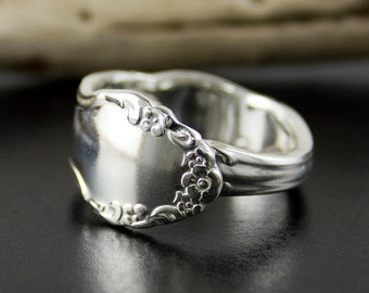 Spoon ring, cutlery ring, silverware ring, heirloom ring, flower ring, Boho ring, antique ring, real spoon ring, silver ring, Christmas ring
