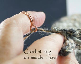 The original crochet ring, 2 loop ring, men who crochet, crochet tools, crochet gifts, crochet accessories, knitting accessories, gifts