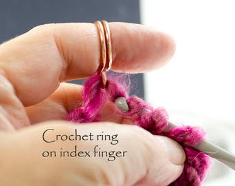 Crochet ring, original custom made  1 loop crochet ring,  crochet accessories, yarn guide ring, stranding ring, arthritis ring, tension ring