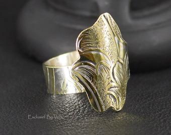 Original design ring, womens ring, silverware ring, dinner ring, unique silver ring, thumb ring, antique silver, handmade ring, OOAK ring