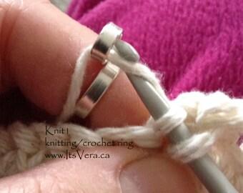 Popular knitting ring, crocheting ring, st silver knitting ring, sterling silver rings, crochet tools, knitting tools, crochet help