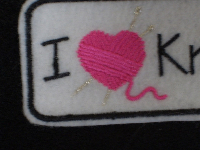 iron on patch I heart knitting embroidered
