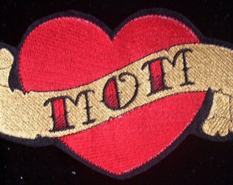 Embroidered mom heart tattoo iron on patch