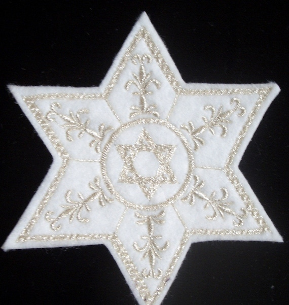 """Set Of 2 STAR OF DAVID ~ 1/"""" 2.5cm METALLIC SILVER  IRON ON APPLIQUE PATCHES"""