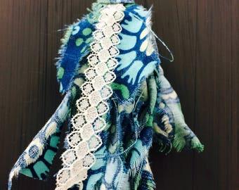 Handmade Long Scrap Fabric Tassel Necklace
