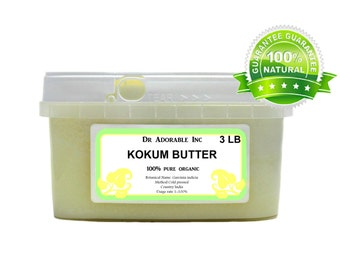 3 LB  Pure Organic Kokum  Butter Fresh Cold Pressed