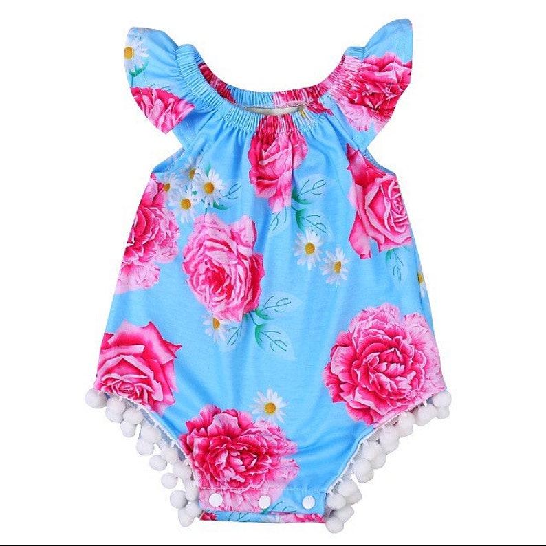 bad140b71 Baby girl Bubble Romper dress pompom baby summer romper | Etsy