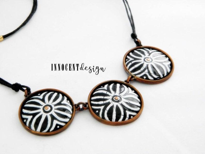 black/&white moroccan african enamel pendant NOMAD gipsy