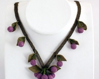 Purple Berry Necklace,Plum Berry Necklace,Eggplant Crochet Necklace, Floral Necklace, ,Statement Necklace, Wedding Necklace,Orange Necklace,