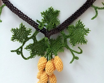 Yellow Necklace, Yellow Crochet Necklace, Crochet Necklace, Grapes necklace, Statement Necklace,mustard necklace