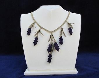 Crochet Necklace,Dark burgundary Crochet Necklace, Purple Berries Necklace,Fruit bib,purple berry bib,black necklace,choker,crochet,bib,