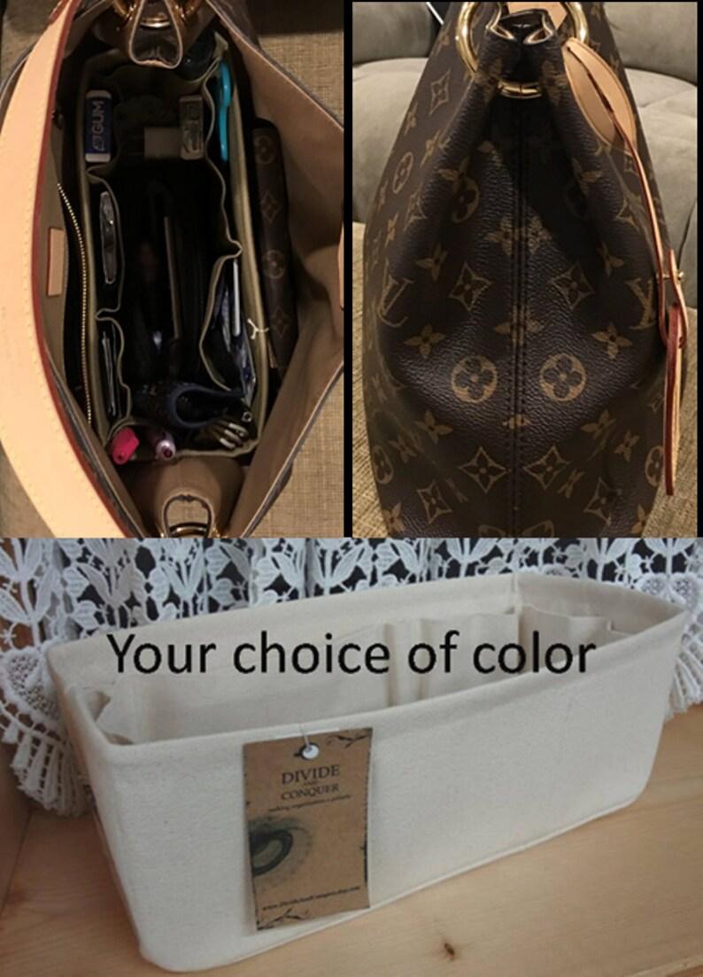fits LV Graceful PM  10 x 4 x 5H  Purse Organizer insert Shaper  Stiff wipe-clean bottom /& flexible ends  STURDY  You choose color
