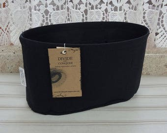 Black / Purse ORGANIZER Insert SHAPER / Flexible fabric bottom or Wipe-clean bottom / STURDY / 5 Sizes Available / 100% cotton canvas