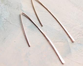 Rose Gold Threader Earrings, Minimalist Line Earrings, minimalist jewelry, rose gold jewelry, pink gold earrings