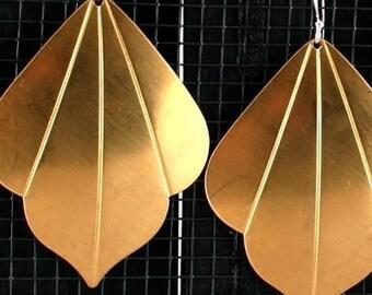 Large Bohemian Earrings - Barcelona Beauty --- brass and sterling silver fan art deco earrings