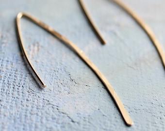 Gold Line Earrings - minimalist jewelry, thin gold earrings, minimalist gold earring,  thin open hoop earrings, gold earrings