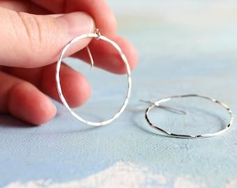 Hammered Silver Circle Earrings (Large) - Silver Dangle Hoop Earrings Minimalist Jewelry sterling silver earrings