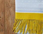 Large Knit wrap, Wrap scarf, large shawl, Blanket Scarf, Fair Isle, knit wrap, wool shawl, light blue shawl, luxury wrap, handmade shawl