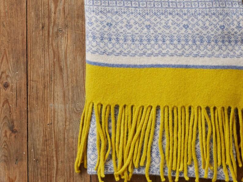Knitted shawl, Fair Isle wrap scarf, blanket scarf wool, Fair Isle shawl,  women knit shawl, women knit scarf, blue yellow shawl, Scottish uk