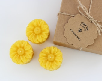 Organic Beeswax Flower Candles. Set of 3.