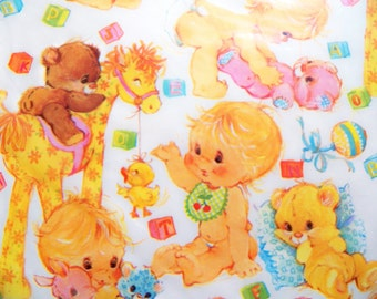 vintage gift wrap vintage baby shower wrapping paper pink etsy