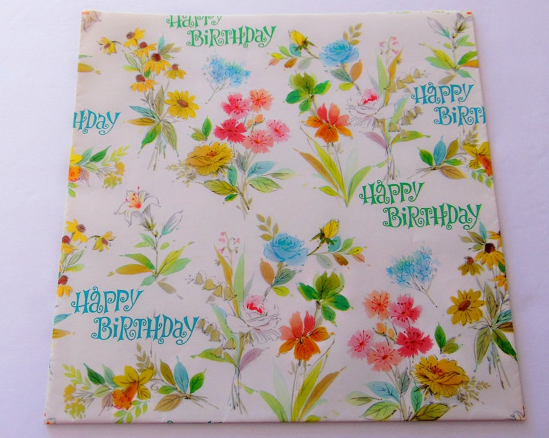 One sheet 19X29 inches Vintage Floral Birthday Wrapping Paper Vintage Flowers Roses Buttercup Gift Wrap Floral Scrapbook Craft paper
