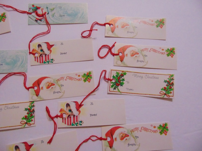 Vintage Christmas Unused Gift Tags set of 20 Package Decorations Scrapbook Craft Kittens Santa Holly Cats Gift Enclosure Cards