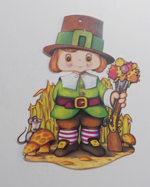 Vintage 11 Inch Pilgrim Boy Die Cut Vintage Party Decoration Etsy