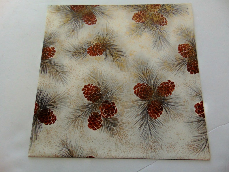 Unused Scrapbook Vintage Pinecone Gift Wrap Vintage Hallmark Golden Mist Christmas Wrapping Paper Assemblage One Sheet 20X28 inches