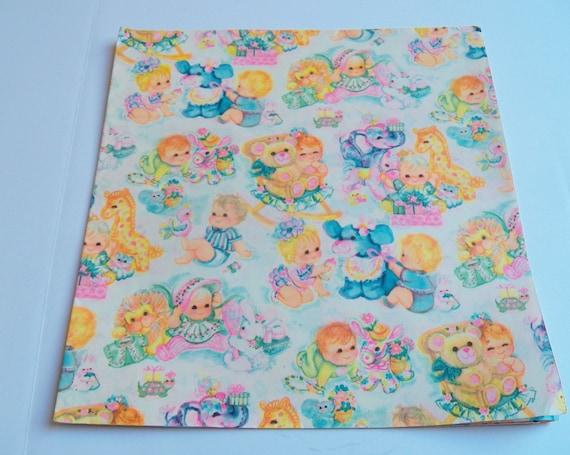 Vintage Baby Geschenk Zu Verpacken 1967 Verpackung Papier Freizeit Giraffen Löwen Elefanten Bären Geschenk Wickeln Ein Blatt 29 X 19 Zoll