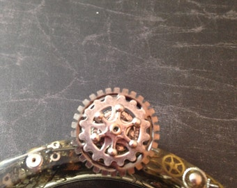 Silver Layered Gears Steampunk Adjustable Ring