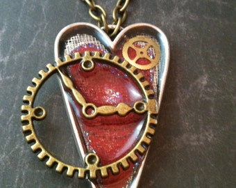 Heart with Antiqued Brass Clock Steampunk Necklace