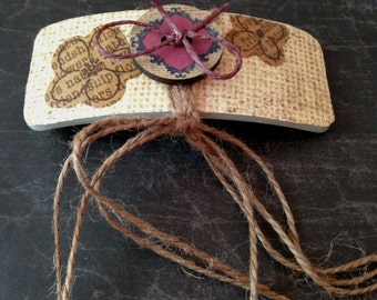 Shabby Chic Burlap and Button Hair Barrette